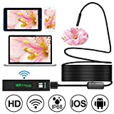 #7: Wireless Endoscope, Goodsmiley 2 Megapixels HD1200P Wifi USB Borescope, IP68 Waterproof Inspection Camera, Semi-rigid Flexible Snake Camera for Android, iPhone, Samsung, Tablet, PC, 16.4 Foot/5 Meters