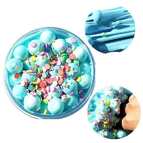 Mikilon Newest Birthday Cake Butter Slime with Foam Balls Charm, Super Soft Toy for Boys and Girls (Blue, 2oz)]()