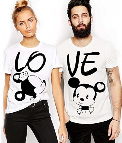 ADYK Cotton Couple T-Shirts Mickey Printed (Pack of 2)  polo tshirt at amazon
