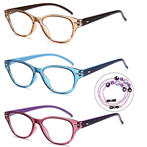 VVDQELLA 1.5 Reading Glasses Women 3 Set Colorful with Neck Hanging Safty AC Lense Clear Antiglare Plus 1.50 Read Eyeglasses Trendy Tinted Frame