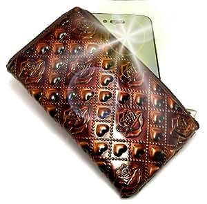 """""""Pasión"""" Marrón, Lujosa Billetera / Sostenedor en imitación de cuero acolchonado y con cierre para HTC Desire HD. Auténtica Funda / Estuche con correa para transportar para teléfonos móviles."""