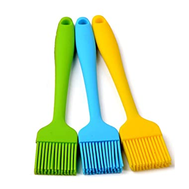 Heat Resistant Silicone Basting Pastry Brushes, Assorted Colors, 8.4-Inch, Set of 3