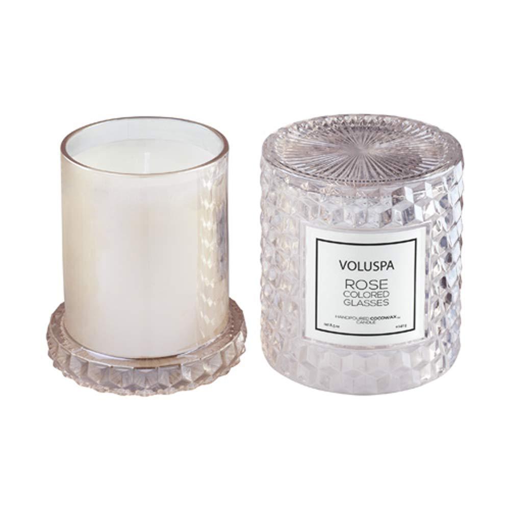 Voluspa Rose Otto Icon Cloche Textured Glass Candle 8.5 Ounces