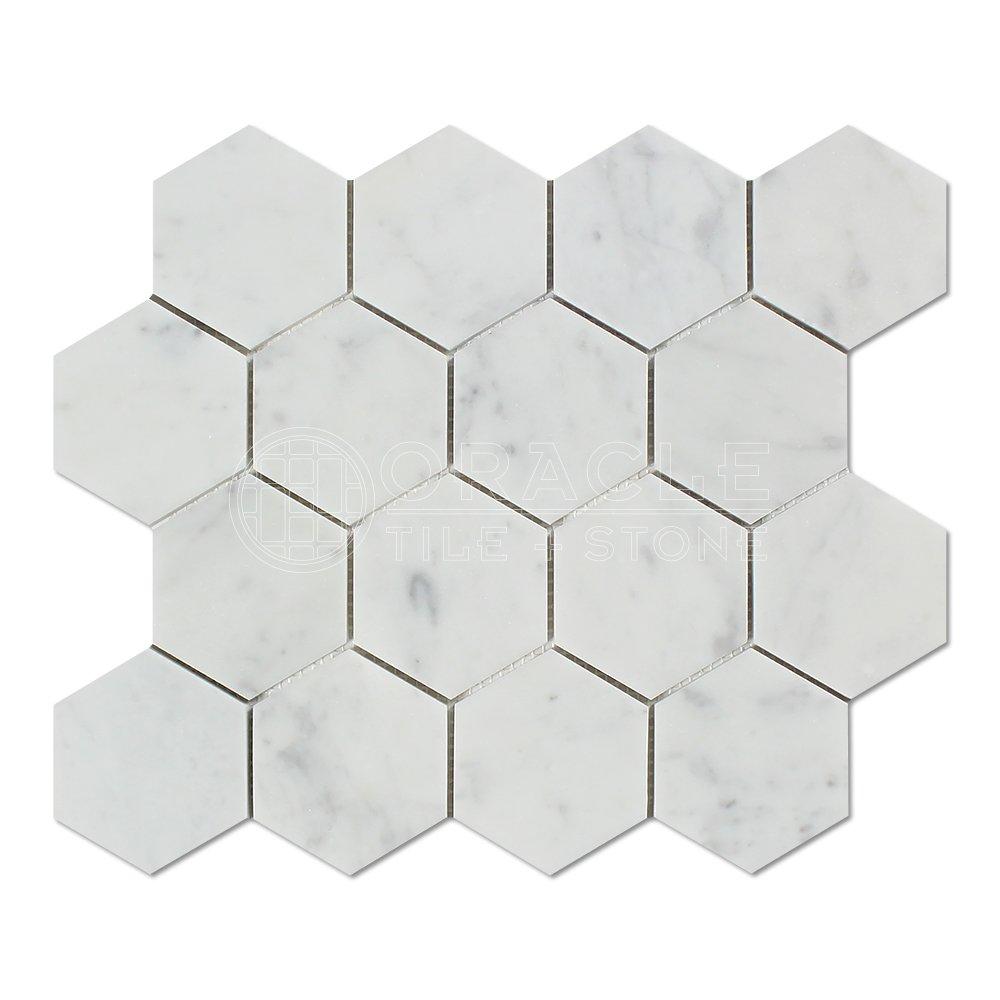 Carrara White Italian (Bianco Carrara) Marble 3 inch Hexagon Mosaic Tile, Honed