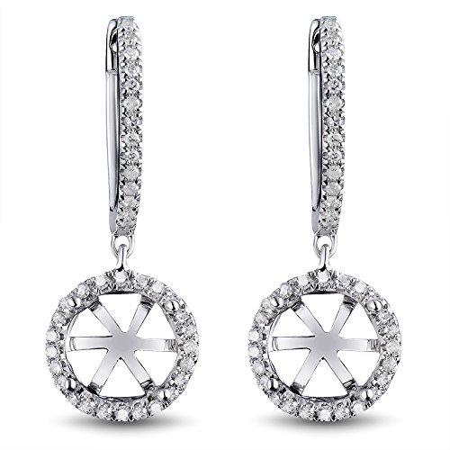 (Women's Bridal 8mm Round Natural Diamond Semi Mount Wedding Earring Set 14K White Gold)