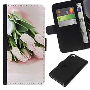 Planetar® Modelo colorido cuero carpeta tirón caso cubierta piel Holster Funda protección Para HTC Desire 820 ( Tulips Watercolor Green Flowers Pink )