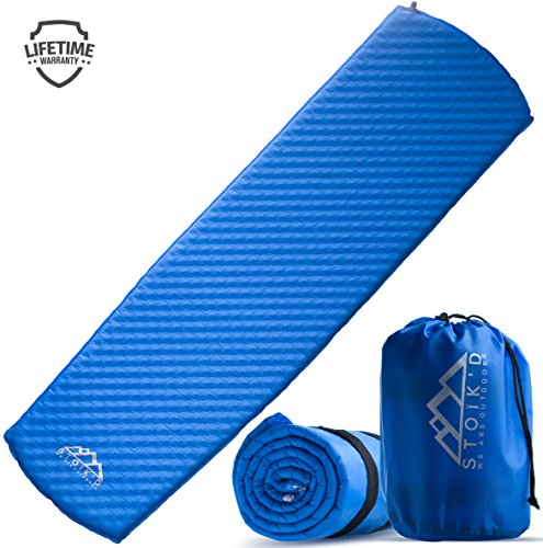 - STOÏK'D Sleeping Pad Camping - Self Inflating Inflatable Mattress (Free Survival Blanket) Great as a Hiking, Backpacking, Tent Car Sleeping Mat - Premium Thick Plush Air Foam Pads, Carry Bag Included
