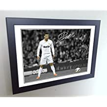 """Signed 12x8 Black Soccer Cristiano Ronaldo """"THE FREEKICK"""" Real Madrid Autographed Photo Photograph Football Picture Frame Gift A4"""
