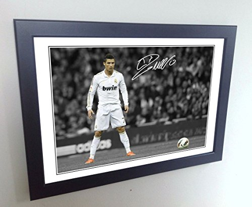 Signed 12x8 Black Soccer Cristiano Ronaldo THE FREEKICK Real Madrid Autographed Photo Photograph Football Picture Frame Gift A4 by kicks