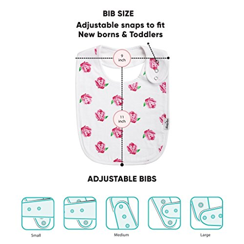 Premium, Organic Cotton Toddler Bibs, Unisex 5-pack Extra Large Baby Bibs for Girls by KiddyStar, Perfect Baby Shower Gift for Feeding, Drooling and Teething, Adjustable 5 Positions by KiddyStar (Image #5)