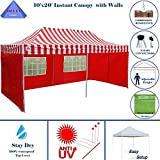 10'x20′ Pop up 6 Walls Canopy Party Tent Gazebo Ez Red Stripe – E Model By DELTA Canopies Review