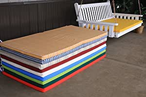 5 Foot Outdoor Swing Bed Mattress Cushion 4 INCHES THICK *Sundown Material*- Maroon Stripe
