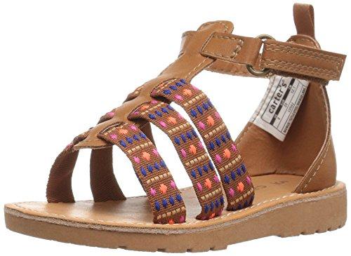 carter's Luna Girl's T-Strap Sandal, Brown, 10 M US Toddler