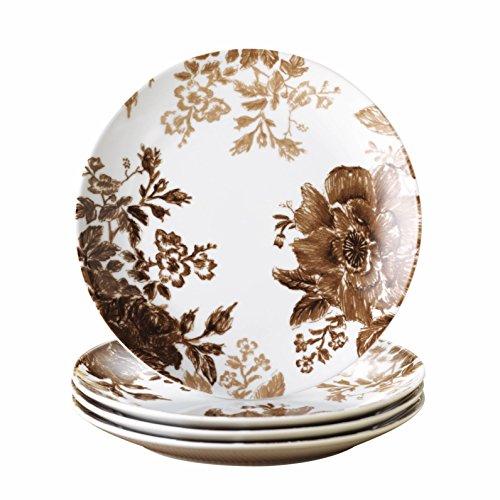 Paula Porcelain Deen Signature - Paula Deen Signature Dinnerware Tatnall Street 4-Piece Salad Plate Set, Coffee Bean