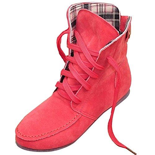 Lacets Cheville De Femmes Plaid À Pastèque Bottines Chaussures Rouge Chaudes Bottes Laçage Minetom Automne Neige Hiver Fourrure Plates x1AqgYw6