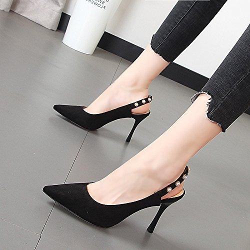 Xue Elegantes Y Con Luz Alto Talón Hembra De Fina Dulce Zapatos Punta El Qiqi Negro Frescos Pequeños Sandalias Or7wqO