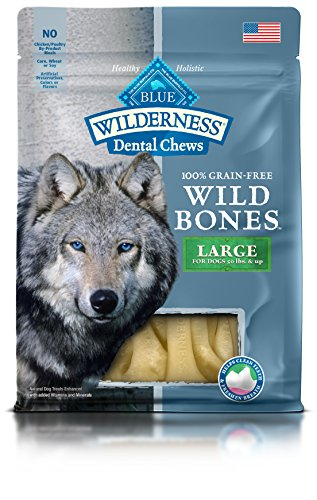 BLUE Wilderness Wild Bones Grain Free Large Dental Chews Dog Treats 10-oz