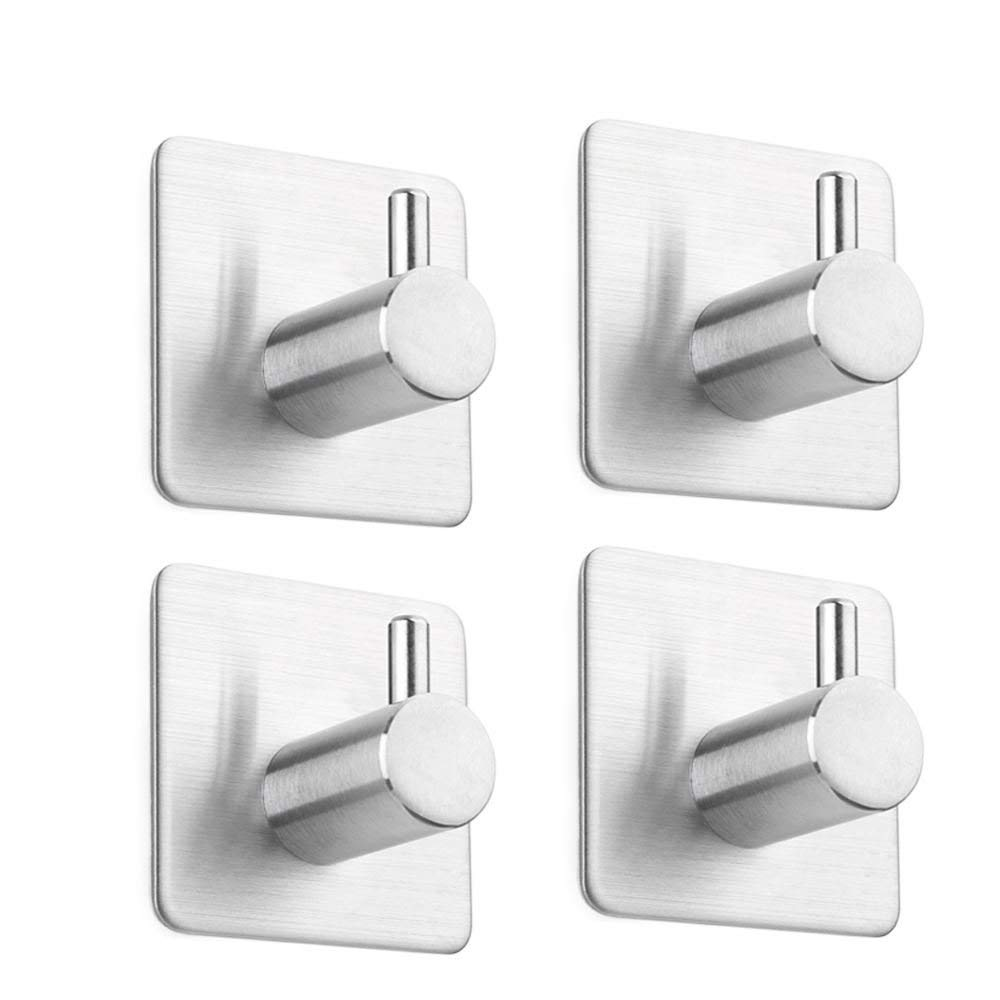 NEEGO Self Adhesive Hooks Heavy Duty 304 Stainless Steel Towel Hook Wall Mount for Kitchen Bathrooms [Energy Class A+++]