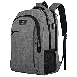 Matein Travel Laptop Backpack, Business Anti Theft Slim Durable Laptops Backpack with USB Charging Port, Water Resistant College School Computer Bag Gifts for Men & Women Fit 15.6 Inch Notebook, Grey