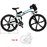Cheap Speedrid Electric Folding Mountain Bike with 26″ Super Lightweight Fashion Wheel, 36V 250W Large Capacity Lithium-Ion Battery, Motor, and Shimano Gear (White)