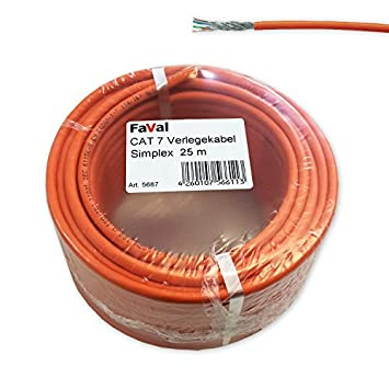 Faval k5687 Cable de instalación Cat7 25 m naranja Cat.7 Cable de red Cable
