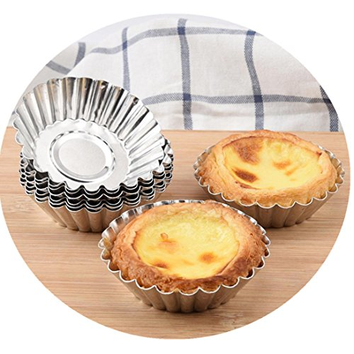 Fheaven (TM) Egg Tart Pans Tart Mould Aluminum Cupcake Cake Cookie Lined Mold Mould Tin Home Kitchen Baking Tool for Party Christmas (10PCS)