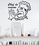 Decals Design 'Kitchen Stylish Chef De Cuisine Restaurant Hotel' Wall Sticker (PVC Vinyl, 45 cm x 60 cm, Black)