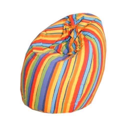 Fashionpillow Jeans Sitzsack Bean Bag mit Baumwollbezug in Buntem Streifenmuster - 75 x 95 cm