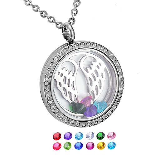 [HooAMI Angel Wing Round Magnetic Closure Floating Living Memory Lockets Pendant Necklace] (Small Round Locket Pendant)