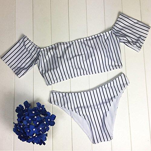 zooarts® 2017Sexy mujeres apagado hombro rayas Bikini Sets Push Up acolchada de baño traje de baño, poliéster, mediano