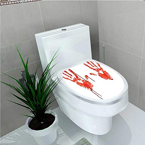aolankaili Toilet Seat Decal Vinyl Like Wanting Help Halloween Horror Scary Spooky Flowing Blood Themed Print Red White W13 x L16 ()