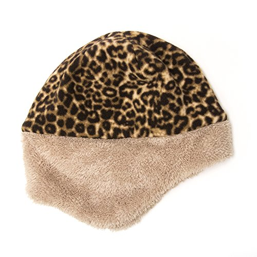 Sprigs Reversible Fleece Hat with Faux Fur Trim- Womens Winter Hat with Ear Flaps (Black/Leopard)