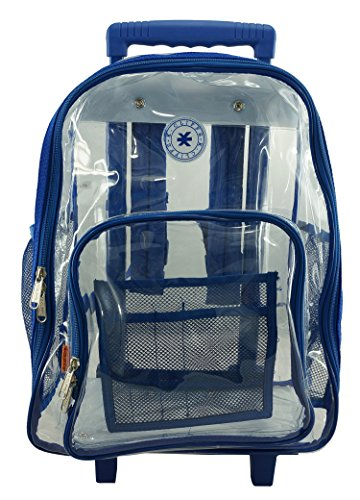 K-Cliffs Heavy Duty Wheeled Clear Backpack 0.5mm Vinyl Complete See Through Schoolbag Roy By Praise Start