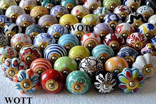 WOTT Assorted Multicolor Ceramic Drawers Knobs Door Cupboard Knobs and Mix Pulls (Set of 20 PC)