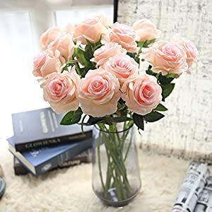 NIHAI Artificial Flowers Bulk Looks Realistic and Beautiful Flower Arrangement Fake Rose Silk Floral for Wedding Bridal Bouquet Garden Party Home Decorations (Pink) 16