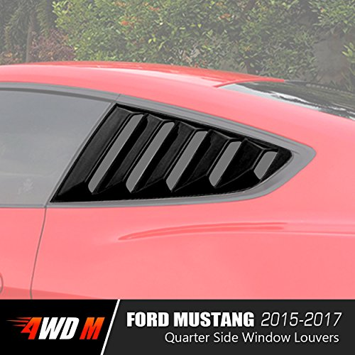 4WDMUSCLE Matte Black GT 5 Vents Style Quarter Side Window Scoop Louvers for Ford Mustang 2015 2016 2017 ()