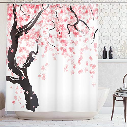 Oriental Curtain - Ambesonne House Decor Shower Curtain Set, Japanese Cherry Tree Blossom in Watercolor Painting Effect Oriental Stylized Art Deco, Bathroom Accessories, 69W X 70L Inches, Black Pink