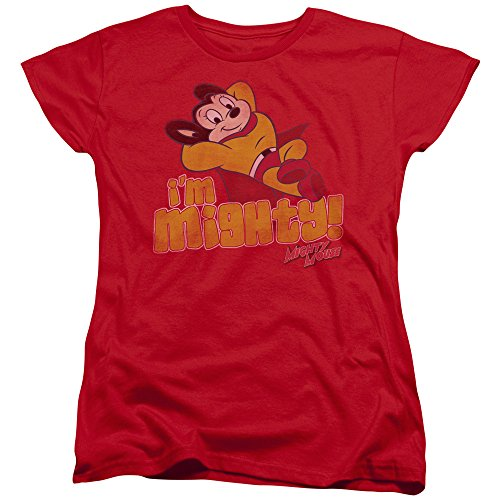 Trevco Mighty Mouse-I Am Mighty - Short Sleeve Womens Tee - Red44; Small (Mighty Mouse Ladies Tee)