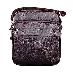 DIEBELLAU Classic Leather Men's Shoulder Bag Casual Messenger Bag Youth Vertical Men's Small Backpack Men's Bag (Color : Brown)