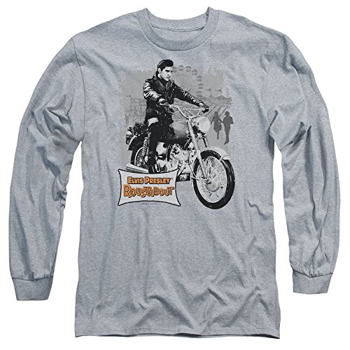 - Elvis Presley Roustabout Poster Unisex Adult Long-Sleeve T Shirt for Men and Women, Large Athletic Heather