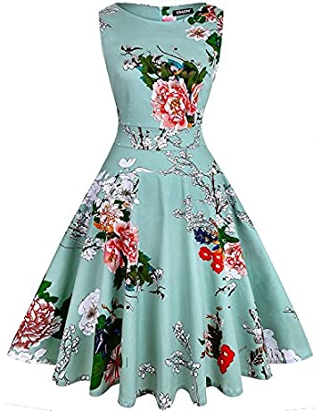 8620e65d59ca OWIN Women's Vintage 1950's Floral Spring Garden Rockabilly Swing Prom  Party Cocktail Dress