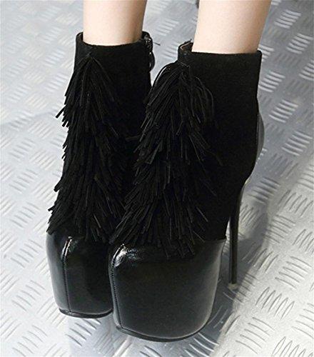 MNII Femme Dentelle Talons black Plateforme Chaussures Chaussures Pump mode Black Rouge Talons Top Vintage Basse Tassel Party de Chaussures q4dPRqr