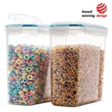 Komax Biokips Original Airtight Cereal Container (2 Pack) | 16.9 Cups 135 Ounce | Airtight Food Storage Containers - BPA-Free Cereal Dispenser | Flour, Sugar, Dry Food Storage Containers with Lids