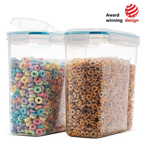 Komax Biokips Original Airtight Cereal Container (2 Pack) | 16.9 Cups 135 Ounce | Airtight Food Storage Containers - BPA-Free Cereal Dispenser | Flour, Sugar, Dry Food Storage Containers with Lids ()