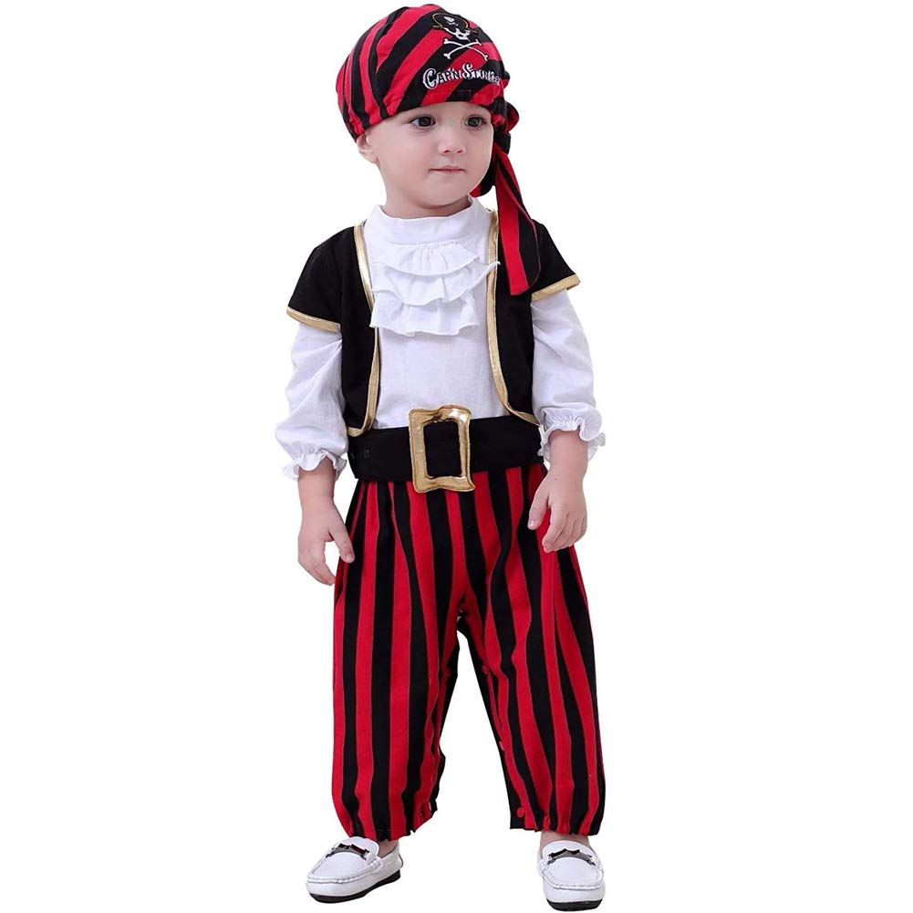ZTie Little Pirate Costume for Halloween Party Baby Toddler Pirates Outfit Headscarf Belt Set (12-18 Months, Black, White)