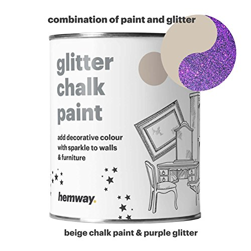 Hemway Beige Chalk Paint (with Purple Glitter) Sparkle Matt finish Wall and Furniture Paint 1L / 35oz Shabby Chic Vintage Chalky Crystal (25 Glittery Colours Available) - 227 Matt