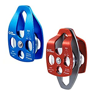 GM CLIMBING 32kN UIAA Certified Large Rescue Pulley Single/Double Sheave with Swing Plate CE/UIAA