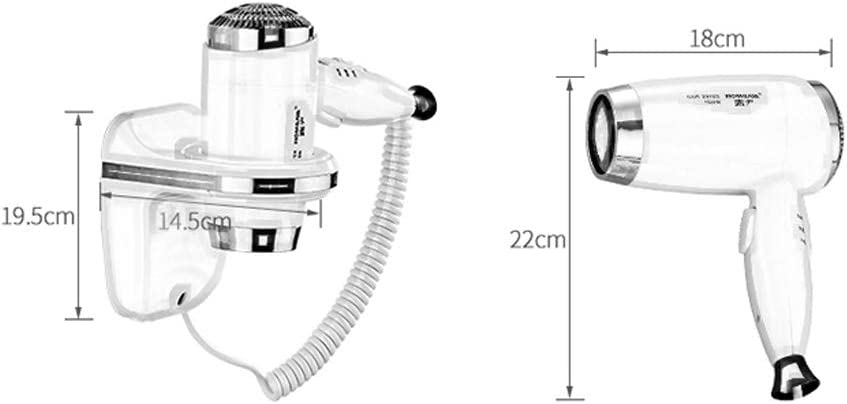 Wall-Mounted Hair Dryer 1600W Home Hotel Bathroom Constant Temperature Hair Care Fast Drying (Color : White) White DwqX1