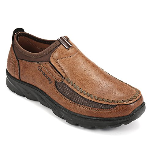 Image of gracosy Slip-On Boat Shoes,Men Hand Stitching Microfiber Leather Non-Slip Sneakers Casual Walking Loafers