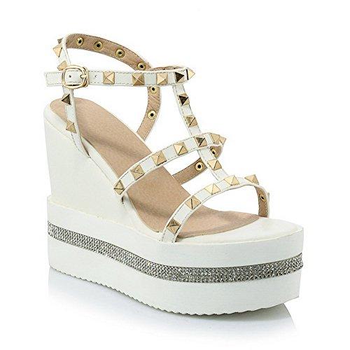 Open High Color Heels Assorted Women's Buckle White Sandals Pu Toe AgooLar fTWEg4x